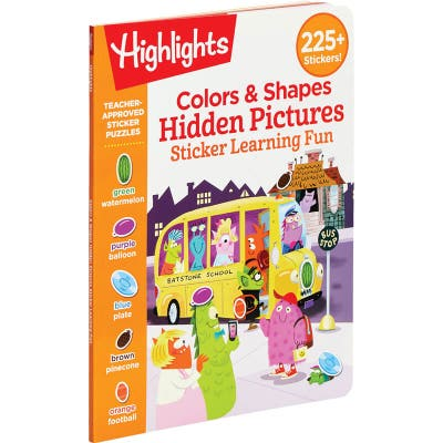 Colors and Shapes Hidden Pictures Sticker Learning Fun book