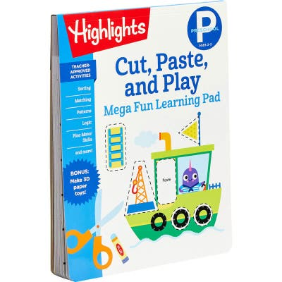 Cut and paste preschool learning pad