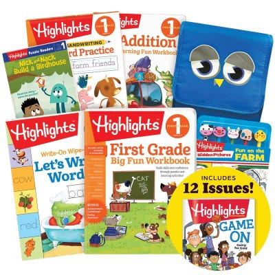 Deluxe Back-to-School Success Pack, First Grade with 5 books, lunch tote, pencil set and magazine subscription