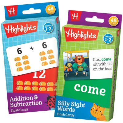 Highlights Activity Flash Cards: Silly Sight Words and Addition & Subtraction Sets