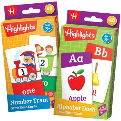 Highlights Games Flash Cards: Alphabet Dash and Number Train Set