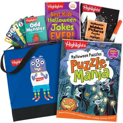 Halloween Gift Set with 3 books, tote bag and deck of cards
