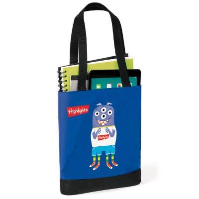 Monster tote bag holding books