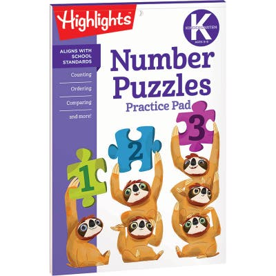 Number Puzzles Practice Pad, Kindergarten