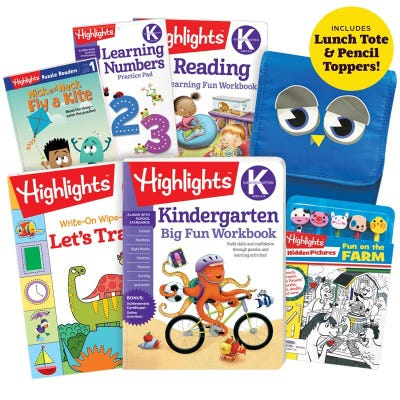 Premium Back-to-School Success Pack, Kindergarten with 5 books, lunch tote and pencil toppers kit