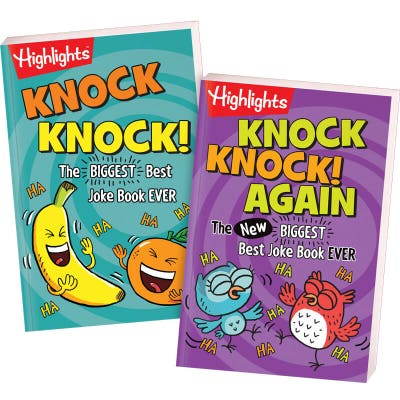 Funny knock knock jokes for kids, set of 2 books