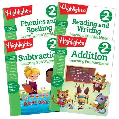 Learning Fun Workbooks Second Grade Set of 4