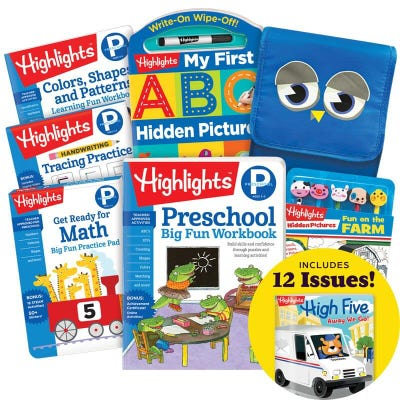 School Success Pack, Preschool, with 5 books, lunch tote and pencil kit and magazine subscription inset
