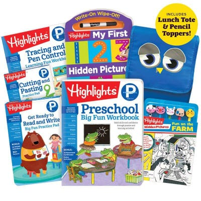 Encourage your little one to have Fun with a Purpose with our Back-to-School Success Pack, including Preschool workbooks, plus lunch tote and pencil toppers kit