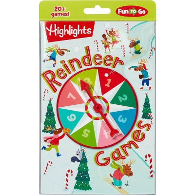 Fun to Go Reindeer Games book with built-in spinner
