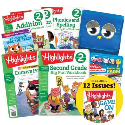 Deluxe Back-to-School Success Pack, Second Grade with 6 books, lunch tote, pencil toppers kit and magazine subscription