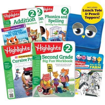 Premium Back-to-School Success Pack, Second Grade with 6 books, lunch tote and pencil toppers kit