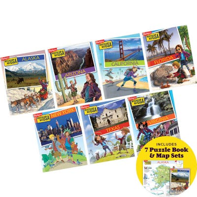 Which Way USA Travel Collection with 7 puzzle book and map sets