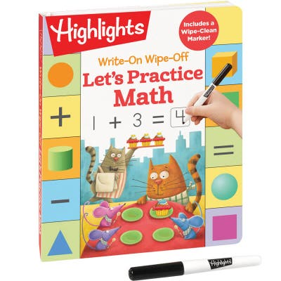 Write-On Wipe-Off Let's Practice Math workbook and marker