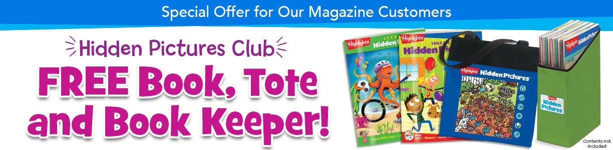 Get a free book, tote and book keeper when you order Hidden Pictures Club