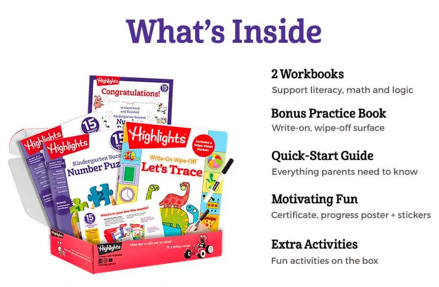 Inside each box you'll get two skills-based workbooks, a bonus learning book, parents' quick-start guide and an award certificate for when they finish!