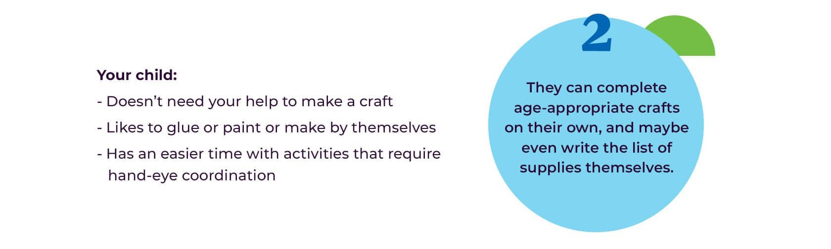 2. They can complete age-appropriate crafts on their own, and maybe even write the list of supplies themselves.