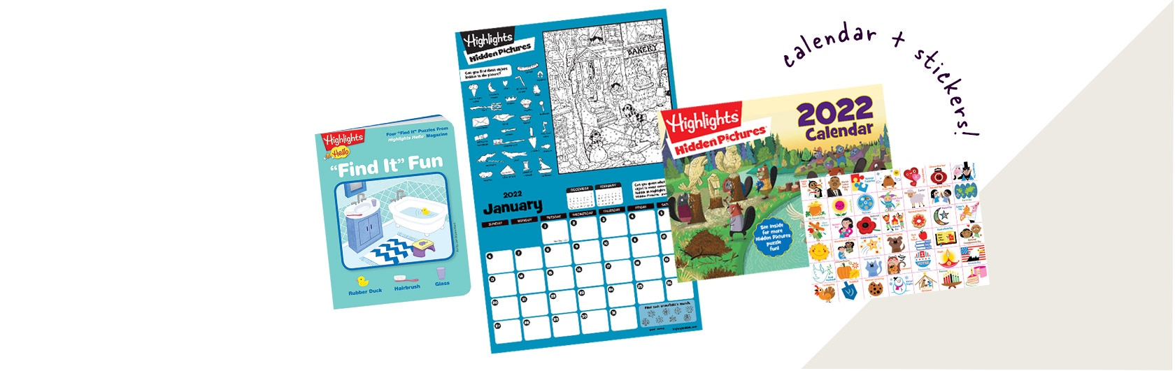 """2022 Hidden Pictures calendar with stickers and """"Find it"""" activities for early Hidden Pictures fun."""