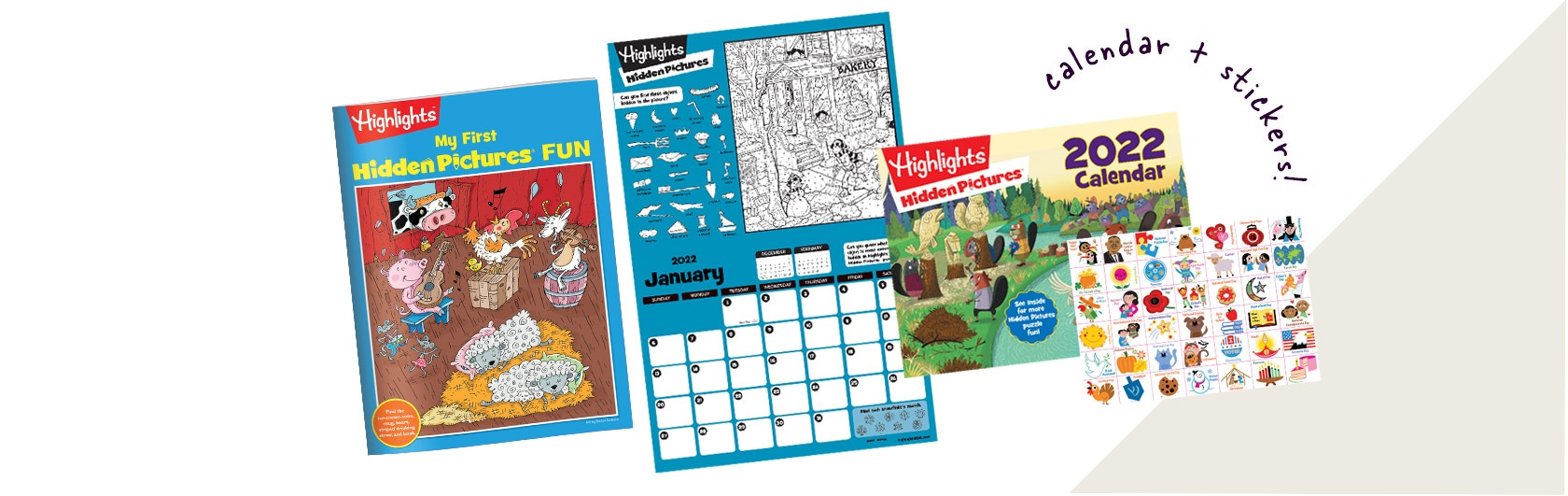 2022 Hidden Pictures calendar with stickers and My First Hidden Pictures fun booklet with beginner puzzles.
