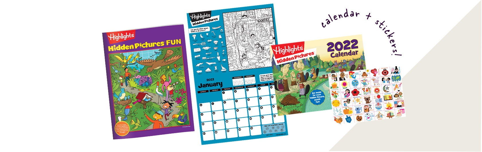 2022 Hidden Pictures calendar with stickers and Hidden Pictures booklet with challenging puzzles.