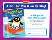 High Five Certificate Holiday Gift Announcement