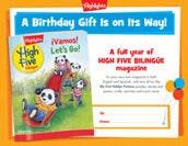 High Five Bilingüe Certificate Birthday Gift Announcement