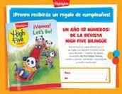 Revista High Five Bilingüe Certificate Birthday Gift Announcement