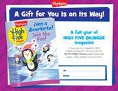High Five Bilingüe Certificate Holiday Gift Announcement