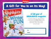 Highlights Certificate Holiday Gift Announcement