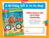 Let's Play Certificate Birthday Gift Announcement