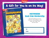 Mathmania Certificate Holiday Gift Announcement