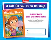 Puzzle Buzz Certificate Anytime Gift Announcement