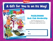 Puzzlemania Certificate Holiday Gift Announcement